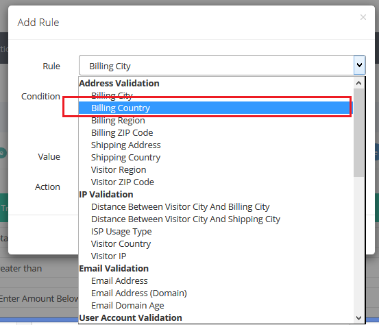 address validation - billing country