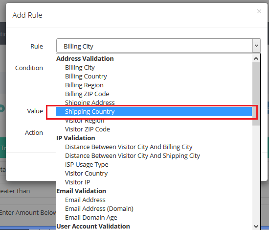 address validation - shipping country