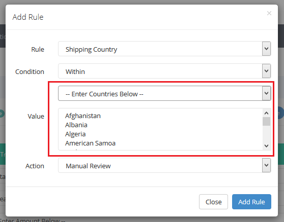 configure fraud rules - custom country validation