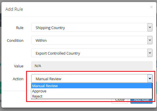 configure fraud rules - export controlled country validation