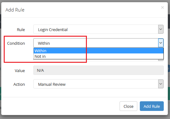 configure fraud rules - high risk username and password validation