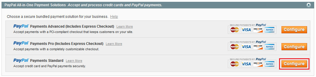 magento paypal payments standard