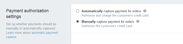 Configure Payment Authorization Settings